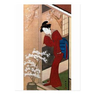桜の花と女, 春章 Cherry Blossoms and a Woman, Shunsho Postcard