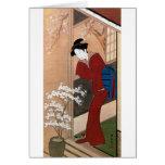 桜の花と女, flores de cerezo y una mujer, Shunsho del 春 Felicitación