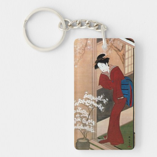 桜の花と女, flores de cerezo y una mujer, Shunsho del Llavero Rectangular Acrílico A Doble Cara