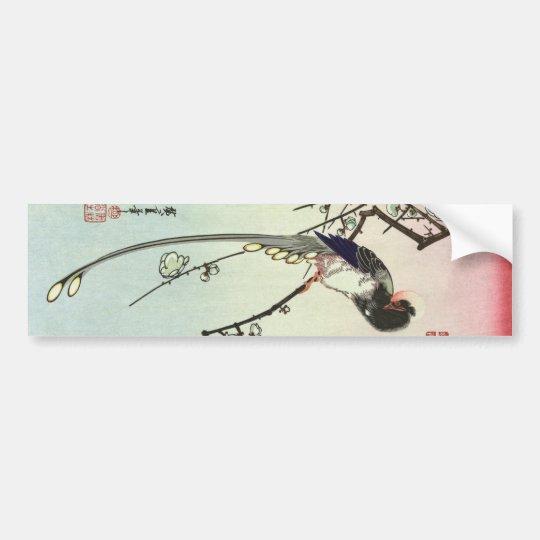 梅に尾長鳥, 広重 Plum Tree and Bird, Hiroshige, Ukiyo-e Bumper Sticker