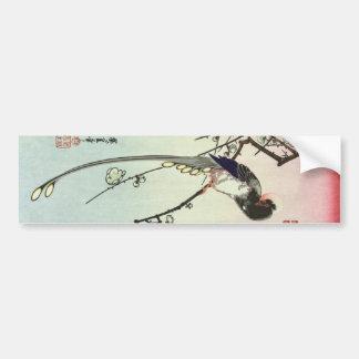 梅に尾長鳥, árbol de ciruelo del 広重 y pájaro, Hiroshige Pegatina Para Auto