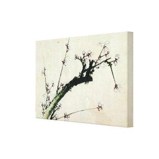 梅花, flores del ciruelo del 北斎, Hokusai Impresión En Lienzo Estirada