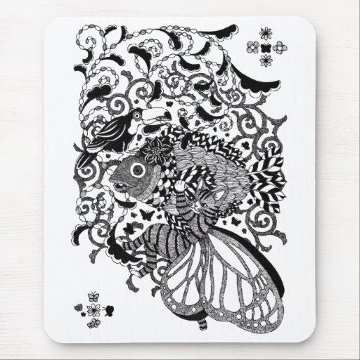 植物魚と猫蝶とオニオオハシペン画(Pen drawing Plant fish and Butter マウスパッド