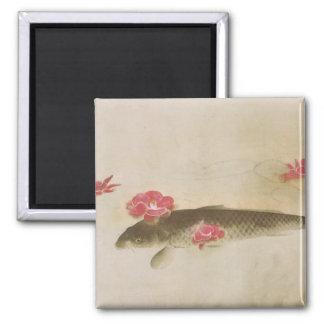 椿と鯉, 速水御舟 Camellia and Carp, Gyoshū 2 Inch Square Magnet