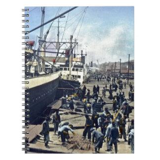 横浜港 del envío del vintage de Japón del puerto de Y Libros De Apuntes Con Espiral