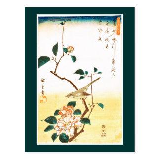歌川広重 Camellia and Bush Warbler, Hiroshige Postcard