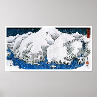 歌川広重 Kiso Road Snowstorm, Utagawa Hiroshige Posters