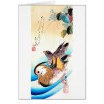 歌川広重 Oshidori (Mandarin Ducks), Hiroshige Greeting Card