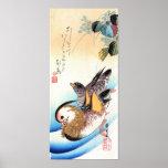 歌川広重 Oshidori (patos de mandarín), Hiroshige Posters