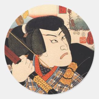 歌舞伎役者, 国芳 Kabuki Actor, Kuniyoshi, Ukiyoe Classic Round Sticker