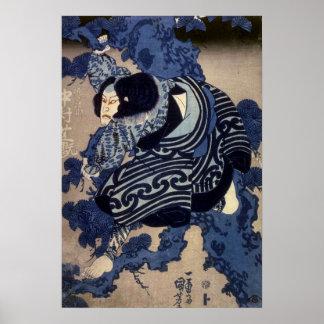 歌舞伎役者, actor de Kabuki del 国芳, Kuniyoshi, Ukiyo-e Posters
