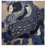 歌舞伎役者, actor de Kabuki del 国芳, Kuniyoshi, Ukiyo-e Servilleta
