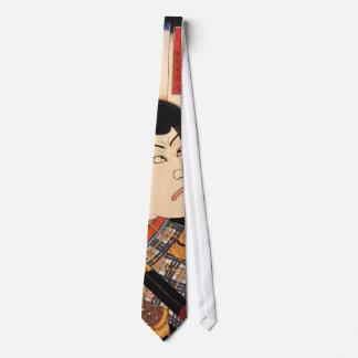 歌舞伎役者, actor de Kabuki del 国芳, Kuniyoshi, Ukiyoe Corbatas