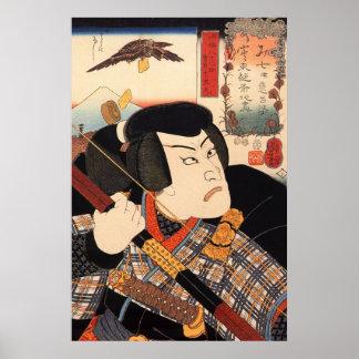 歌舞伎役者, actor de Kabuki del 国芳, Kuniyoshi, Ukiyoe Poster