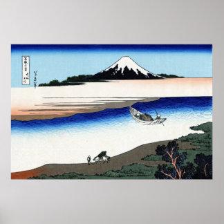 武州玉川, opinión el monte Fuji del 北斎 de Tamagawa, Ho Poster