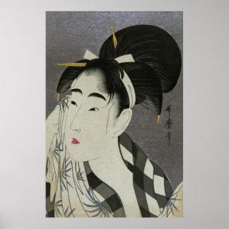 汗を拭く女, 歌麿 Woman Wiping Sweat, Utamaro Poster