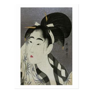 汗を拭く女, barrido sudado, Utamaro de la mujer del 歌麿 Tarjetas Postales
