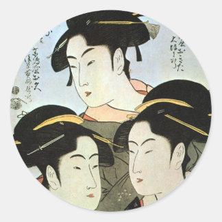 江戸の三美人, mujeres hermosas del 歌麿 tres de Edo, Pegatinas Redondas