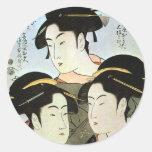 江戸の三美人, mujeres hermosas del 歌麿 tres de Edo, Pegatina Redonda
