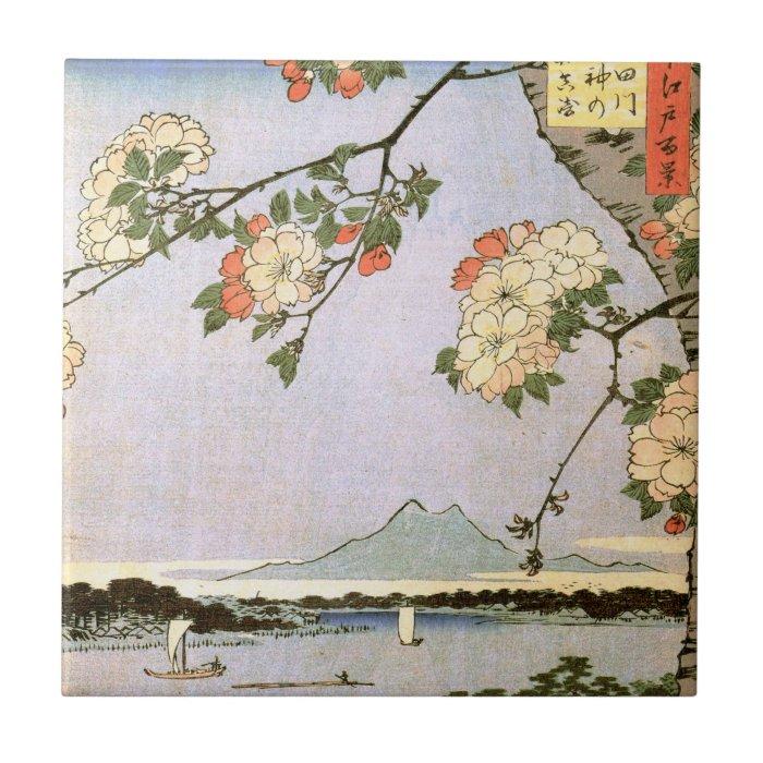 江戸の桜, 広重 Cherry Blossoms of Edo, Hiroshige, Ukiyoe Ceramic Tile