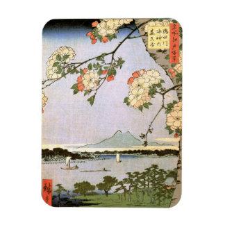 江戸の桜, 広重 Cherry Blossoms of Edo, Hiroshige, Ukiyoe Magnet