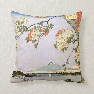 江戸の桜, 広重 Cherry Blossoms of Edo, Hiroshige, Ukiyoe Throw Pillow