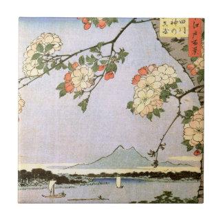 江戸の桜, 広重 Cherry Blossoms of Edo, Hiroshige, Ukiyoe Tile