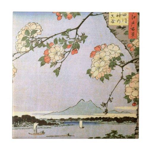 江戸の桜, flores de cerezo del 広重 de Edo, Hiroshige, Azulejo Cuadrado Pequeño