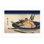 江戸前寿司, 広重 Sushi Bowl, Hiroshige, Ukiyoe Postcards