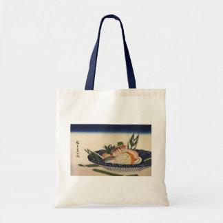 江戸前寿司, cuenco del sushi del 広重, Hiroshige, Ukiyoe Bolsa