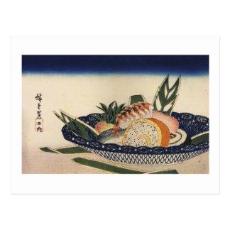 江戸前寿司, cuenco del sushi del 広重, Hiroshige, Ukiyoe Postales