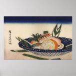 江戸前寿司, cuenco del sushi del 広重, Hiroshige, Ukiyoe Póster