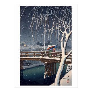 江戸川の宵雪, Evening Snow at Edogawa, Hasui Kawase Postcard