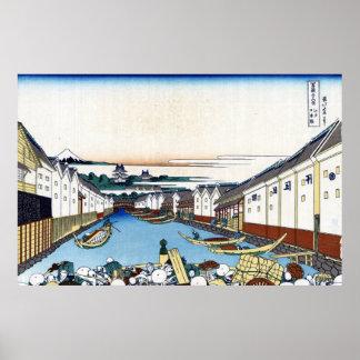 江戸日本橋, opinión el monte Fuji del 北斎 de Nihonbashi, Poster