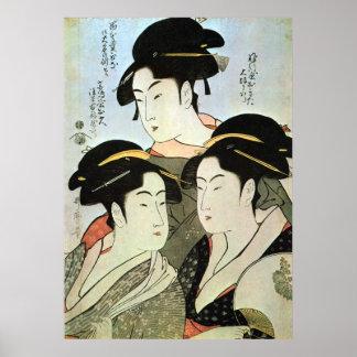 江戸 三美人 mujeres hermosas del 歌麿 tres de Edo Utama Posters