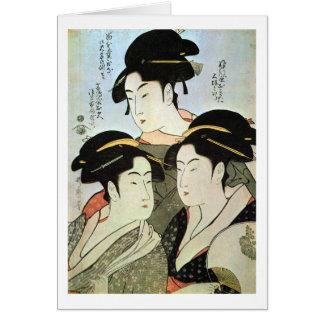 江戸 三美人 mujeres hermosas del 歌麿 tres de Edo Utama Tarjeton