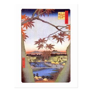 江戸 紅葉 arce del 広重 de Edo Hiroshige Ukiyo-e Postal