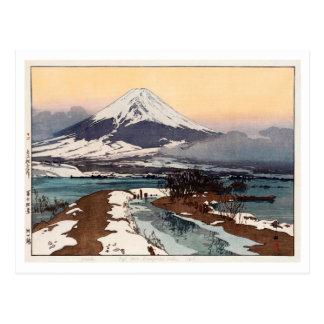 河口湖, Lake Kawaguchi, Hiroshi Yoshida, Woodcut Postcard