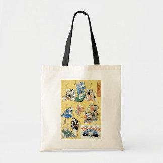 流行猫の狂言づくし, 国芳 Actors of The Cat, Kuniyoshi, Ukiyoe Canvas Bag