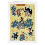 流行猫の狂言づくし, 国芳 Actors of The Cat, Kuniyoshi, Ukiyoe Card