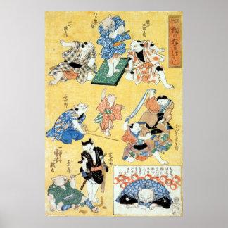 流行猫の狂言づくし, 国芳 Actors of The Cat, Kuniyoshi, Ukiyoe Poster