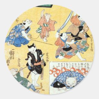 流行猫の狂言づくし, actores del 国芳 del gato, Kuniyoshi, Pegatina Redonda