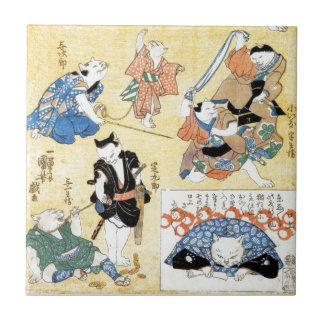 流行猫の狂言づくし, actores del 国芳 del gato, Kuniyoshi, Uki Azulejo Cuadrado Pequeño