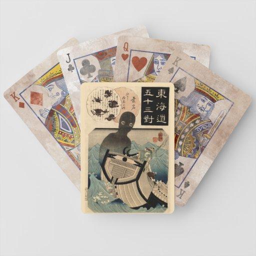 海坊主 japonés del monstruo de mar del vintage, 国芳 cartas de juego