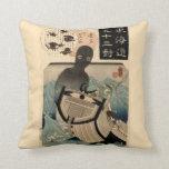 海坊主 japonés del monstruo de mar del vintage, 国芳 cojin