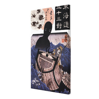 海坊主, monstruo de mar japonés del 国芳, Kuniyoshi, Impresión En Lienzo