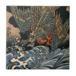 海龍, 国芳, dragón del mar, Kuniyoshi, Ukiyo-e Tejas Ceramicas