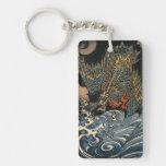 海龍, 国芳, dragón del mar, Kuniyoshi, Ukiyo-e Llavero Rectangular Acrílico A Doble Cara