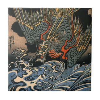海龍, 国芳, Sea Dragon, Kuniyoshi, Ukiyo-e Tile