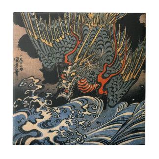 海龍, 国芳, Sea Dragon, Kuniyoshi, Ukiyo-e Tiles